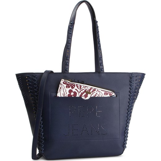 19d8661eebda6 Shopper bag Pepe Jeans na ramię ze zdobieniami duża z aplikacjami w ...