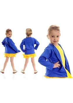 Dziewczęca NARZUTKA KARDIGAN z kieszeniami - chabrowa Rennwear  RENN - kod rabatowy