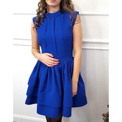 bad7058472 Sukienka niebieska z okrągłym dekoltem gładka bez rękawów midi