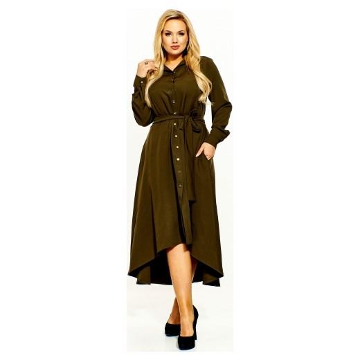 fa34145b5a Kobiecanki-cacanki sukienka na co dzień dla puszystych z długimi rękawami