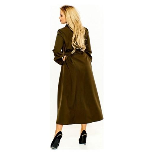 5bf850127a ... długimi rękawami  Zielona sukienka Kobiecanki-cacanki na co dzień dla  puszystych