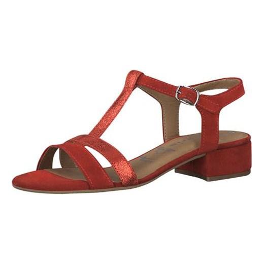 e338fe3ee849c1 Sandały damskie Tamaris gładkie z niskim obcasem czerwone ze skóry z klamrą  eleganckie