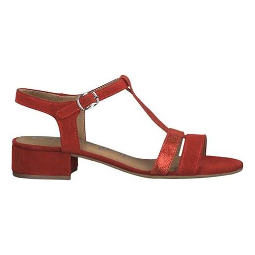 e15a751fd0ed28 ... Czerwone sandały damskie Tamaris ze skóry z klamrą na obcasie  eleganckie gładkie ...