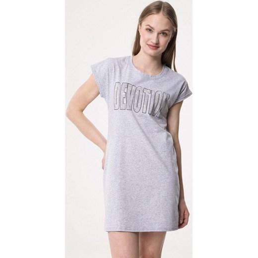 e07c40f492 Sukienka Born2be mini z krótkimi rękawami szara na co dzień gładka prosta  ...