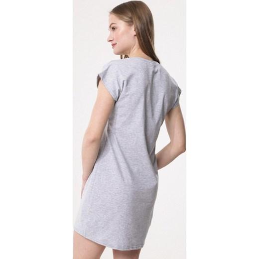 722812873c ... Sukienka Born2be z krótkimi rękawami z okrągłym dekoltem prosta ...