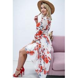 8b0352d927 Sukienka w kwiaty wielokolorowa na randkę asymetryczna z długim rękawem  poliestrowa