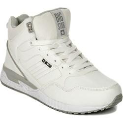 a6db20de Buty sportowe damskie Big Star sneakersy młodzieżowe białe wiązane bez  wzorów ze skóry ekologicznej