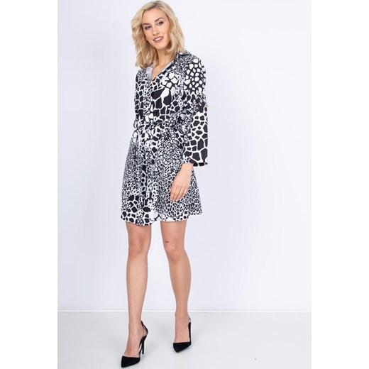 fe90aafb33 Sukienka Zoio szara oversize w zwierzęce wzory midi luźna z długim rękawem  ...