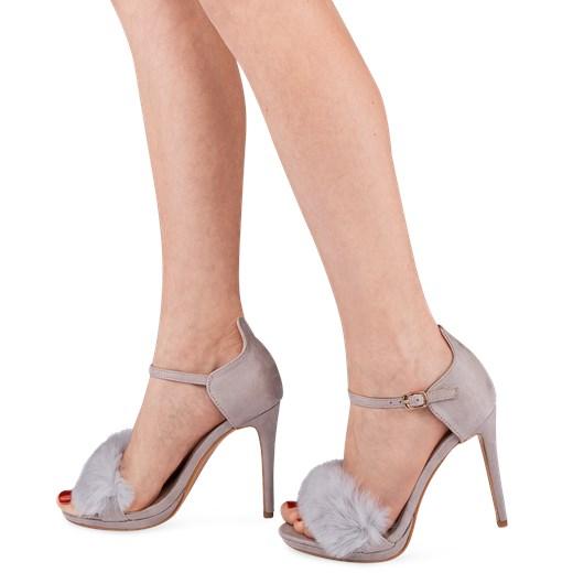 Sandały damskie Bello Star eleganckie na wysokim obcasie z klamrą beżowe na szpilce z tworzywa sztucznego Buty Damskie IR beżowy Sandały damskie EMFV