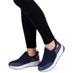 b3439aa86fbaf1 Buty sportowe damskie Ideal Shoes niebieskie płaskie ze skóry ekologicznej