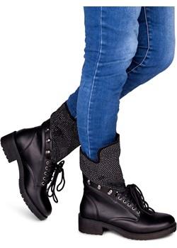 Botki damskie Ideal Shoes SU-2713 Czarne Ideal Shoes  wyprzedaż twojeobuwie.pl  - kod rabatowy