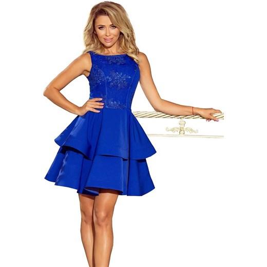 06c675a3f1 Chabrowa Mini Sukienka z Koronką Podwójnie Kloszowana Coco Style M  Coco-fashion.pl