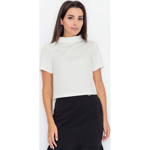 a07bb938b6 Katrus bluzka damska z krótkim rękawem biała z golfem w Domodi