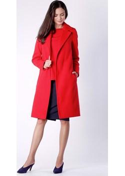 Czerwony Wiązany Płaszcz do Kolan Nommo  Coco-fashion.pl  - kod rabatowy