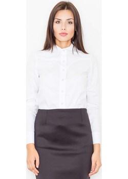 Biała Koszula z Długim Rękawem z Lamówkami  Figl Coco-fashion.pl  - kod rabatowy
