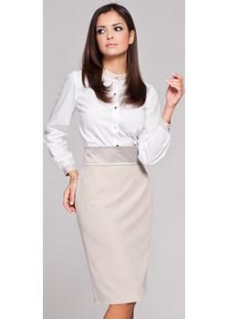 Biała Stylowa Koszula z Niską Stójką Figl  Coco-fashion.pl  - kod rabatowy
