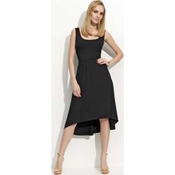 9cd406132e Sukienka Makadamia z okrągłym dekoltem midi czarna bez rękawów