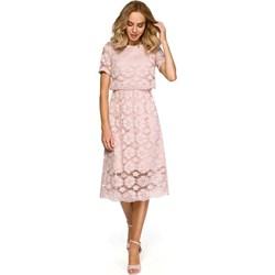 6c03a85f0125 Sukienka Moe elegancka różowa z okrągłym dekoltem midi