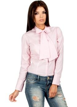 Koszula w Różową Kratkę z Wiązaną Kokardą  Moe Coco-fashion.pl  - kod rabatowy
