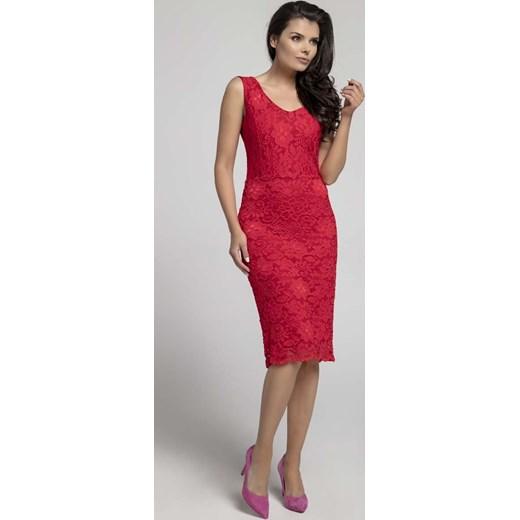 77aa939805 Sukienka Nommo czerwona ołówkowa midi na wiosnę w Domodi