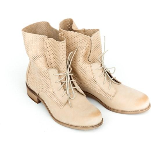 4d5b1f8c87416 ... płaskiej podeszwie; Botki Zapato casual bez wzorów skórzane sznurowane