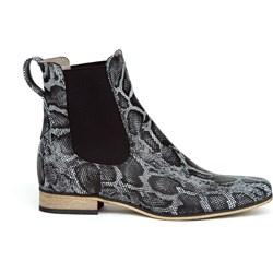 4641e6ec54fea Botki szare Zapato bez zapięcia ze skóry w zwierzęcy wzór casual