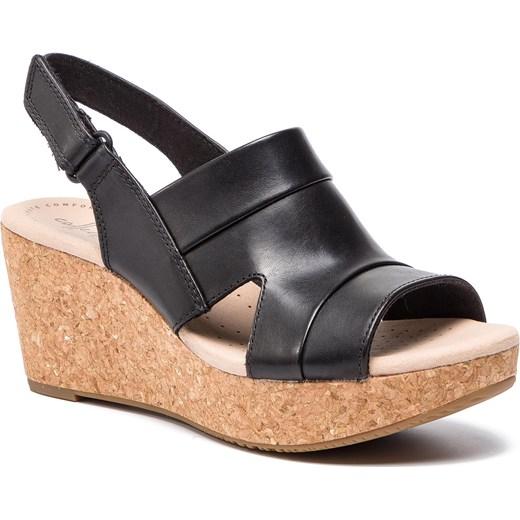 Sandały damskie czarne Clarks na lato casual bez wzorów skórzane na średnim obcasie Buty Damskie CE czarny Sandały damskie KQZP
