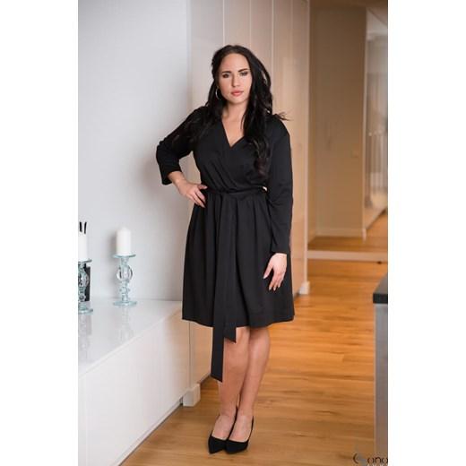 e92286729f Sukienka z długimi rękawami jesienna dla puszystych z tkaniny midi w ...
