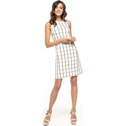 7f8343788f90b Sukienka Tessita elegancka w kratkę midi z okrągłym dekoltem z poliestru