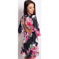 fa3e765a64 Sukienka Dstreet trapezowa z długim rękawem z dekoltem na plecach  wielokolorowa