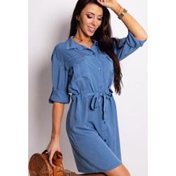 8f2fe05b09 Sukienka niebieska Dstreet z długim rękawem koszulowa z kołnierzykiem midi  na co dzień jeansowa
