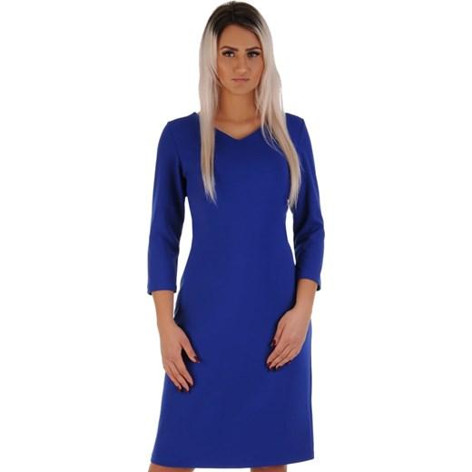 079d6b41ba N87 Elegancka chabrowa sukienka PLUS SIZE z zaszewkami Lamar 50 ...