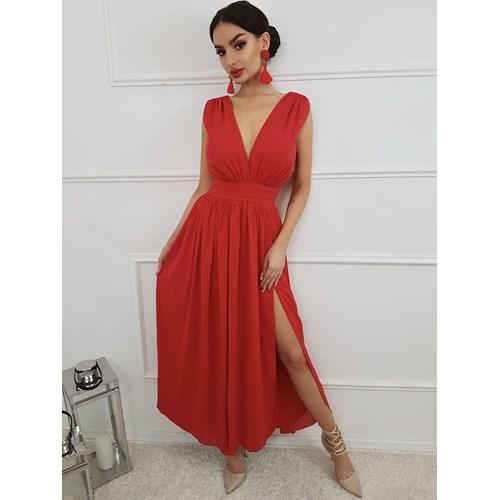 c1d187ef6d Sukienka maxi czerwona na wesele gładka rozkloszowana w Domodi