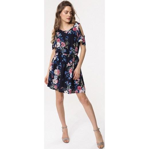 4e31341bd2 ... Sukienka Born2be granatowa z okrągłym dekoltem z krótkim rękawem w  kwiaty prosta na spacer ...
