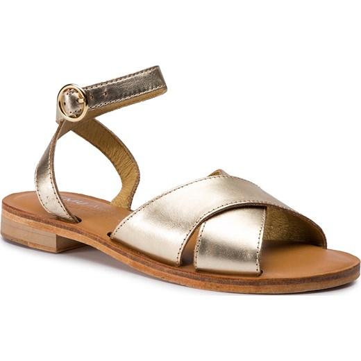 Sandały damskie Emu Australia bez wzorów1 z klamrą płaskie Buty Damskie ZO złoty Sandały damskie INMK
