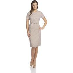 2890b7a3cad2f7 Sukienka Fokus z krótkim rękawem midi z haftami wyszczuplająca biznesowa