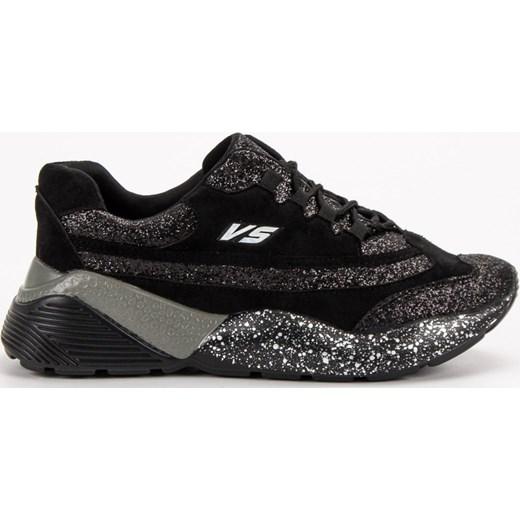 df7acc8e Sneakersy damskie CzasNaButy na płaskiej podeszwie czarne wiązane ...