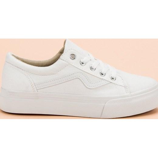 a0b8f5233390d Trampki damskie Buty Kylie wiązane białe płaskie gładkie w Domodi