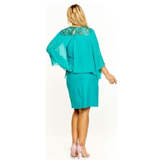 c3fc79362d ... okrągłym dekoltem na spotkanie biznesowe midi  Sukienka z ażurową  wstawką u góry Roxana 50 ptakmoda.com