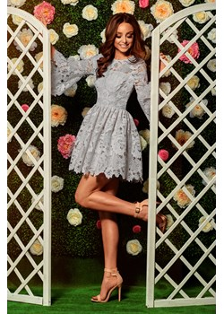 Romantyczna sukienka z koronki L262 - jasnoszary  Lemoniade lemoniade.pl - kod rabatowy