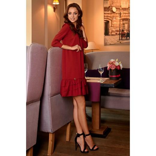 75e29e828d Klasyczna sukienka z falbanką - bordo Lemoniade L lemoniade.pl