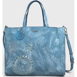 6b68241fad229 Shopper bag Desigual niebieska bez dodatków