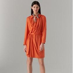 1e7458d590 Sukienka pomarańczowy Mohito na uczelnię gładka z długim rękawem