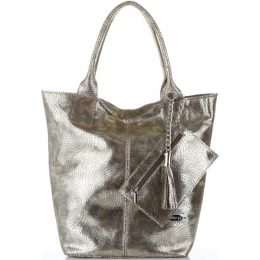 bab58b1ff0c15e Shopper bag Vittoria Gotti złota duża skórzana z frędzlami do ręki w ...