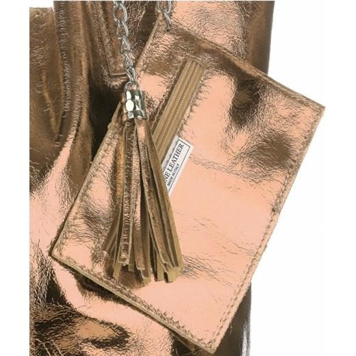 29b48d117b493 Oryginalne Torebki Skórzane ShopperBag Genuine Leather Błysk Szampan  (kolory) PaniTorbalska w Domodi