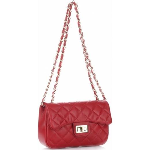 432fa1813dab5 Włoska Pikowana Torebka ze skóry naturalnej Listonoszka firmy Genuine  Leather Czerwona (kolory) czerwony PaniTorbalska w Domodi