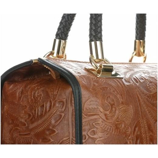 1f5604a7663a0 Eleganckie Torebki Skórzane Kuferki w Tłoczone wzory Liści Brązowe (kolory)  Genuine Leather czarny PaniTorbalska 4