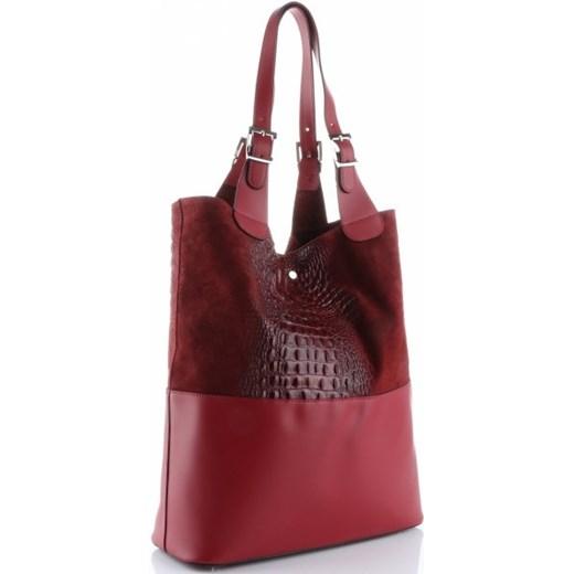 ba7bbb83a7321 Genuine Leather shopper bag czerwona skórzana na wakacje w Domodi
