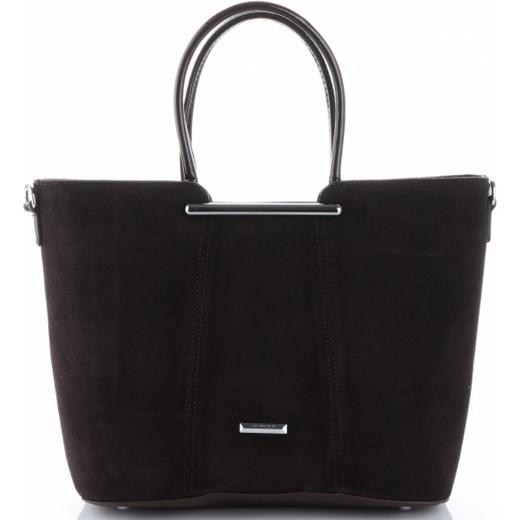 d2c44ea7c0333 Shopper bag brązowa Silvia Rosa ze skóry ekologicznej bez dodatków zamszowa  mieszcząca a4 ...