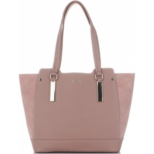 dcccc5992133b David Jones shopper bag różowa na ramię matowa w Domodi
